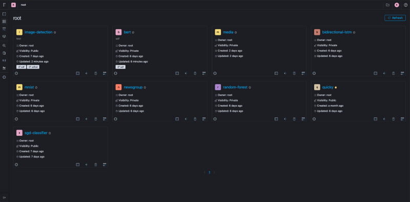 Polyaxon in dark mode